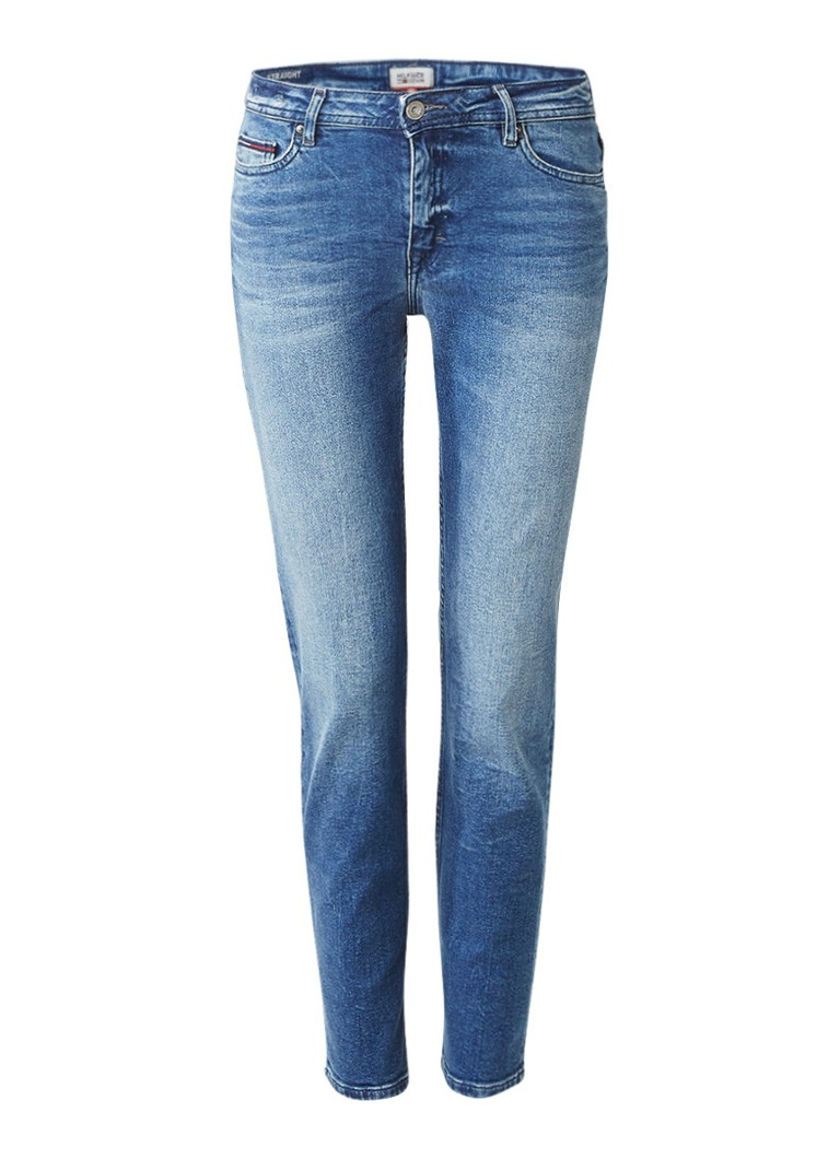 Tommy Hilfiger Cropped straight fit jeans met faded look