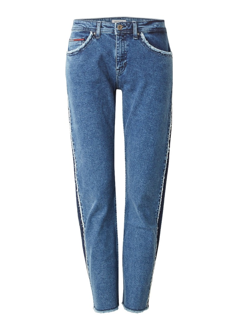 Tommy Hilfiger High rise straight fit cropped jeans met rafels
