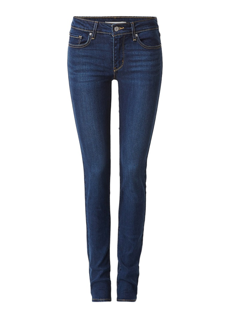 Levi's 711 mid rise skinny jeans in donkere wassing