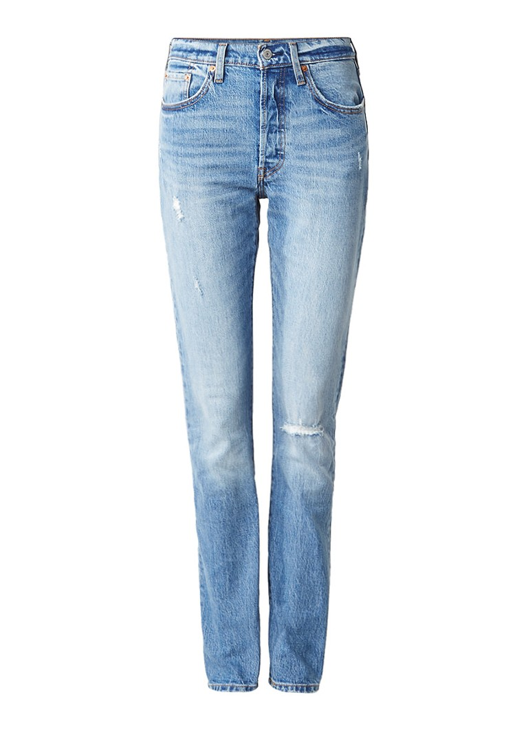 Levi's 501 high rise skinny jeans met destroyed details