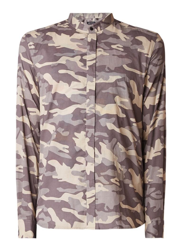 Antony Morato Overhemd met camouflage dessin en mao-kraag