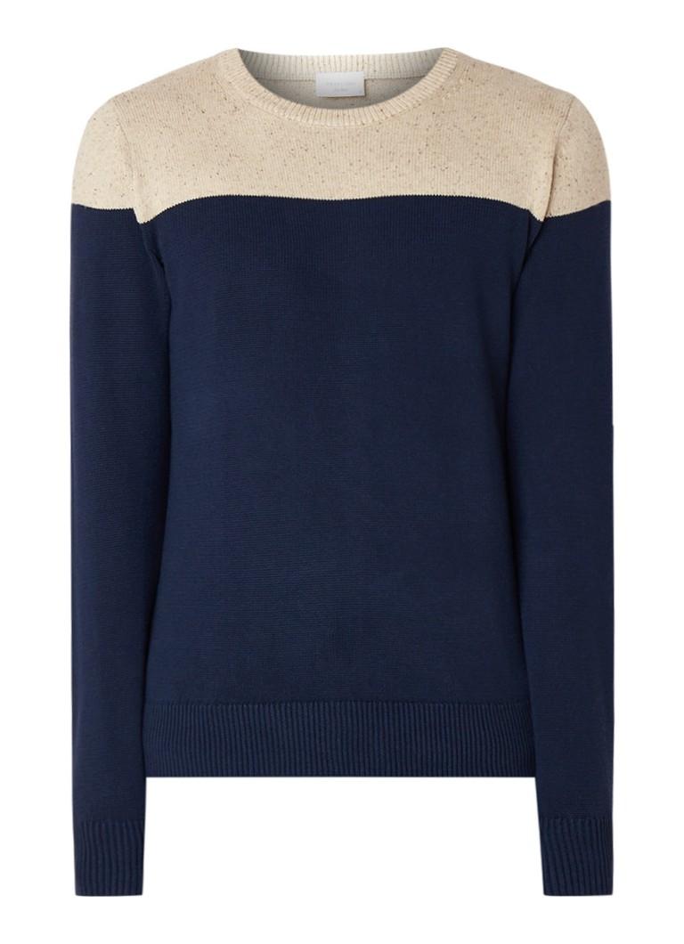 Profuomo Fijngebreide pullover met colour blocking