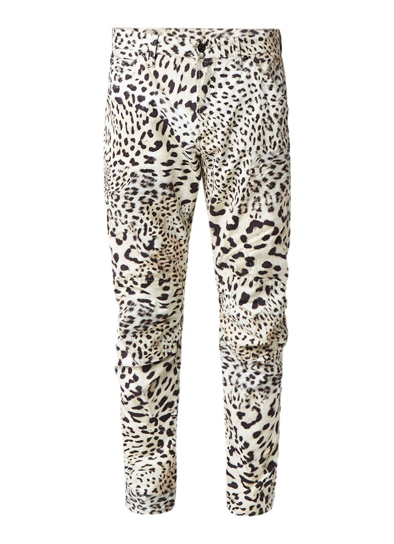 G-Star RAW 5622 Elwood X25 3D Leopard tapered fit jeans met luipaarddessin