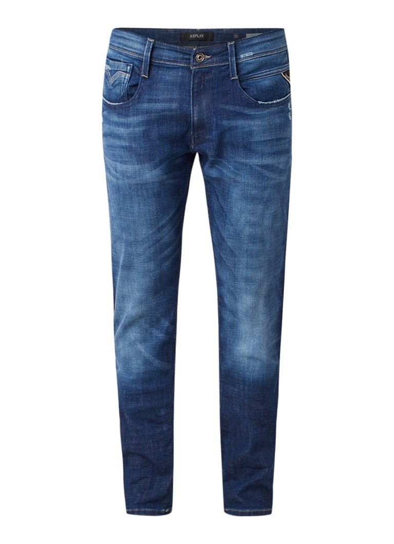 Image of Replay Anbass slim fit jeans met donkere wassing