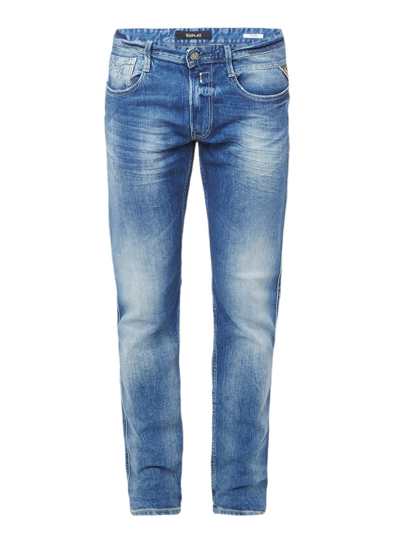 Replay Grover mid rise straight slim fit jeans met medium wassing