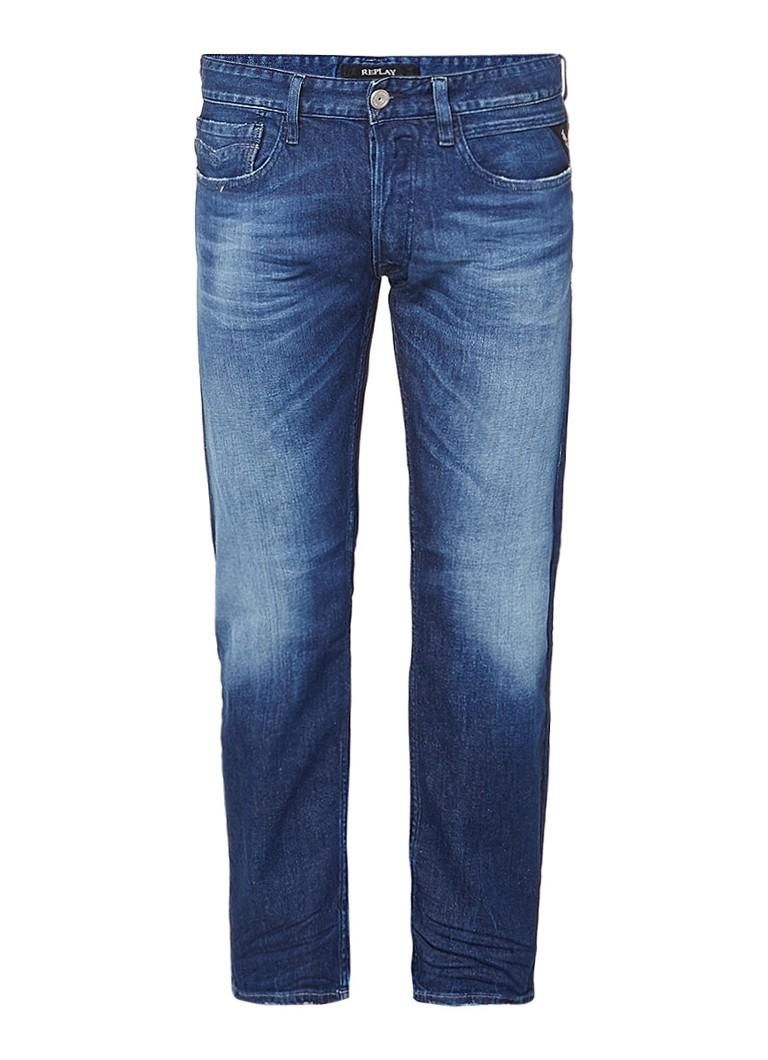 Replay Newbill straight fit jeans met medium wassing
