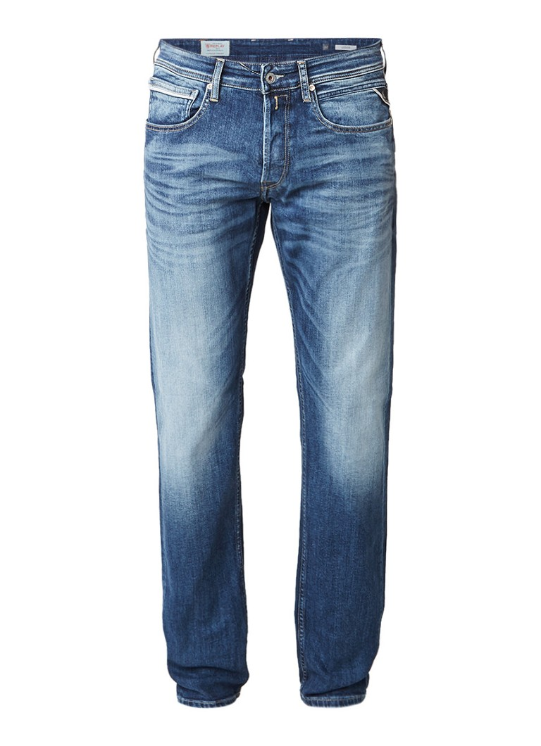 Replay Grover straight slim fit jeans met faded look