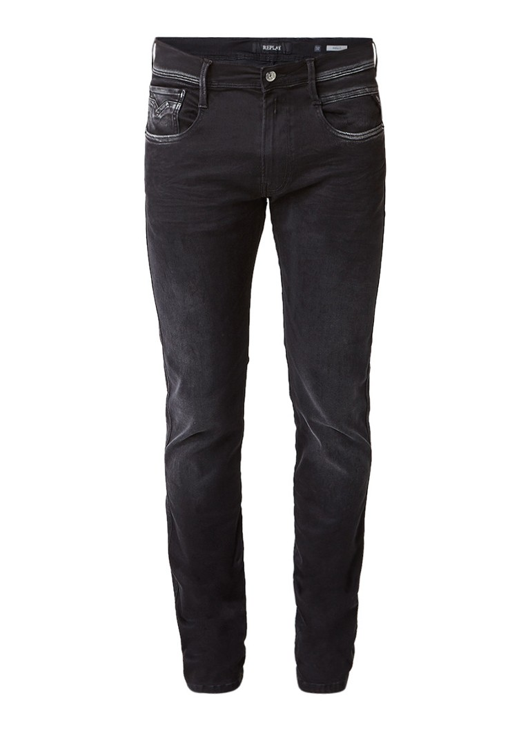 Replay Anbass Hyperflex skinny fit jeans met faded look