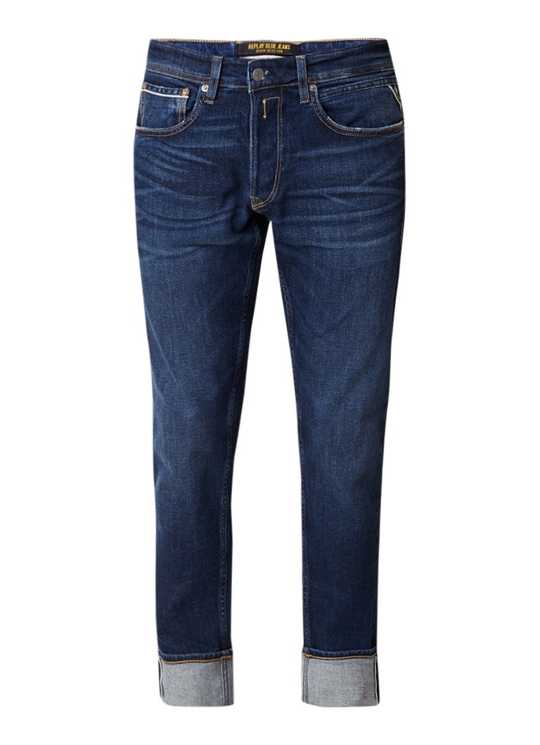 Replay Grover slim fit jeans met donkere wassing