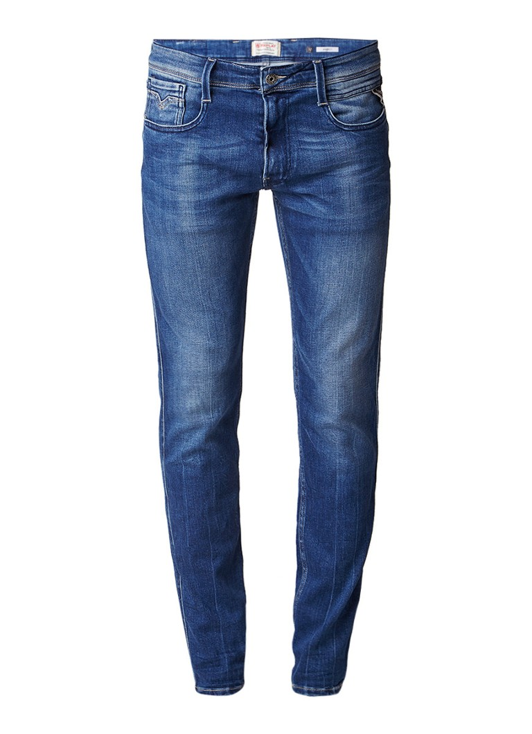 Replay Anbass low rise skinny jeans met faded look
