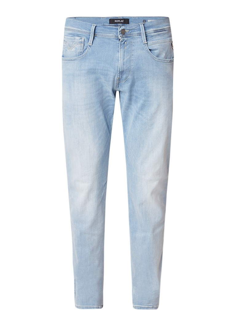 Replay Anbass straight fit jeans met lichte wassing