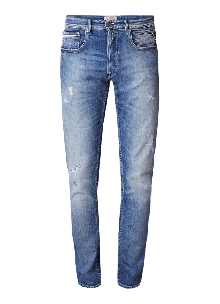 Replay Grover mid rise slim fit jeans met destroyed detail