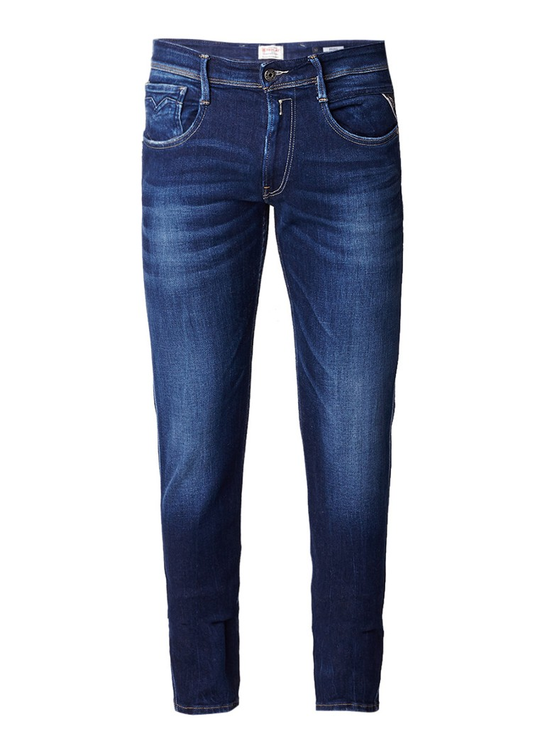 Replay Anbass straight fit jeans met donkere wassing