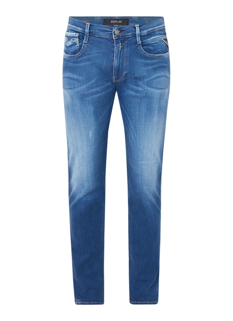 Replay Anbass Hyperflex skinny jeans met faded look