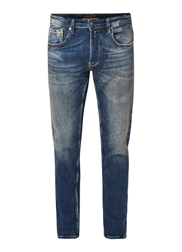 Replay Grover Selvedge straight fit jeans met stretch