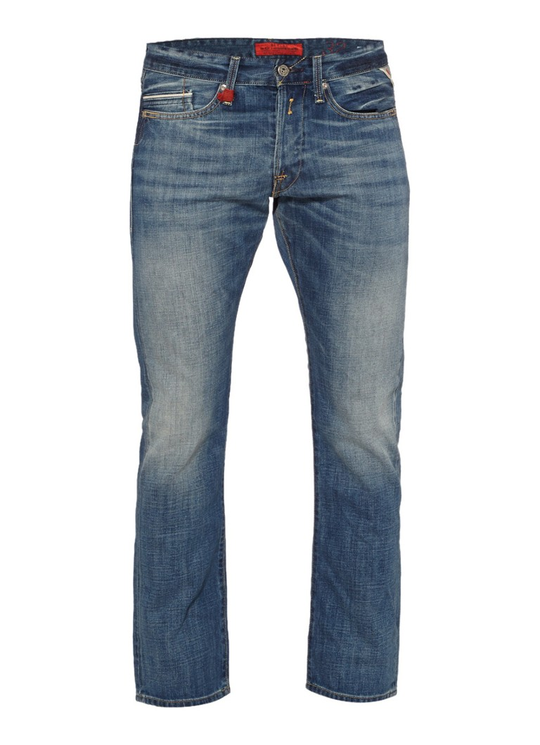 Replay Regular slim fit jeans Waitom met faded look