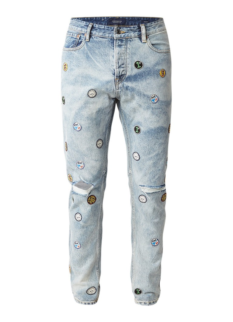 Scotch and Soda Dean straight fit jeans met patches