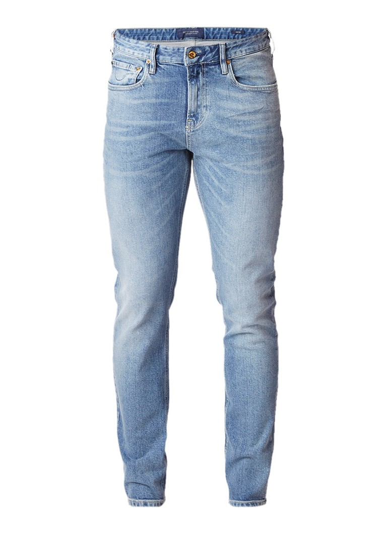 Scotch and Soda Skim skinny fit jeans met faded look