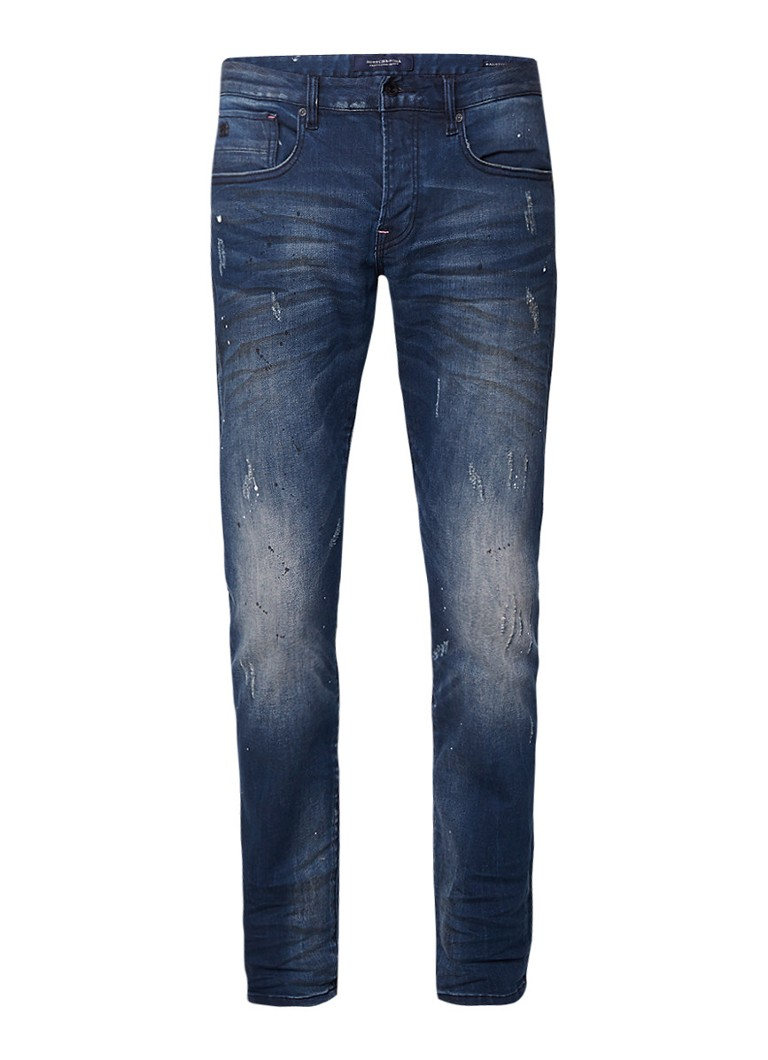 Scotch and Soda Ralston Japan to the Dam mid rise slim fit jeans met verfspetters