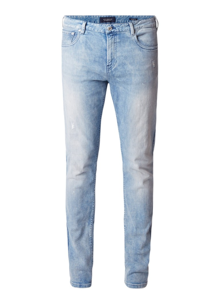 Scotch and Soda Skim Plus low rise skinny fit jeans met destroyed detail