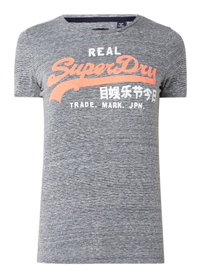 Superdry Vintage T-shirt met streepdessin en logoprint