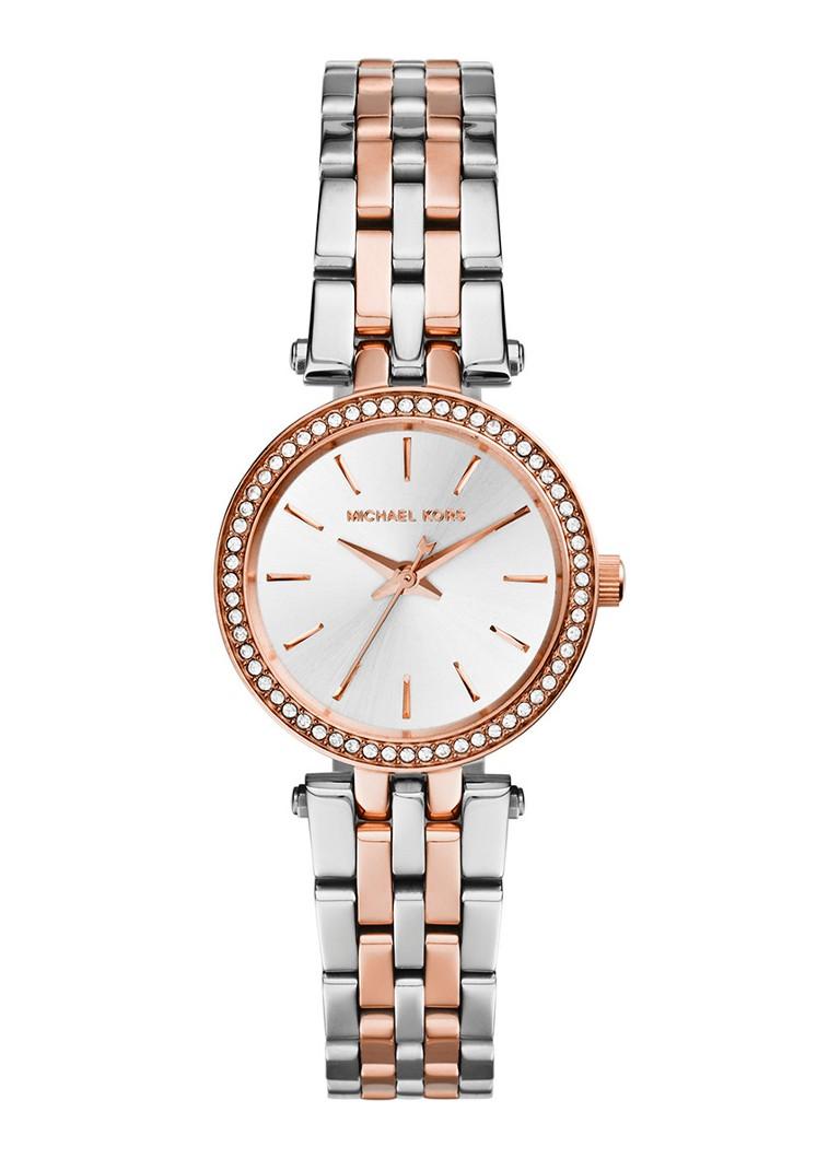 082c677663f Dit two-tone Michael Kors dames horloge combineert de kleuren zilver en  roségoud in een super stijlvolle uitvoering van de Darci.