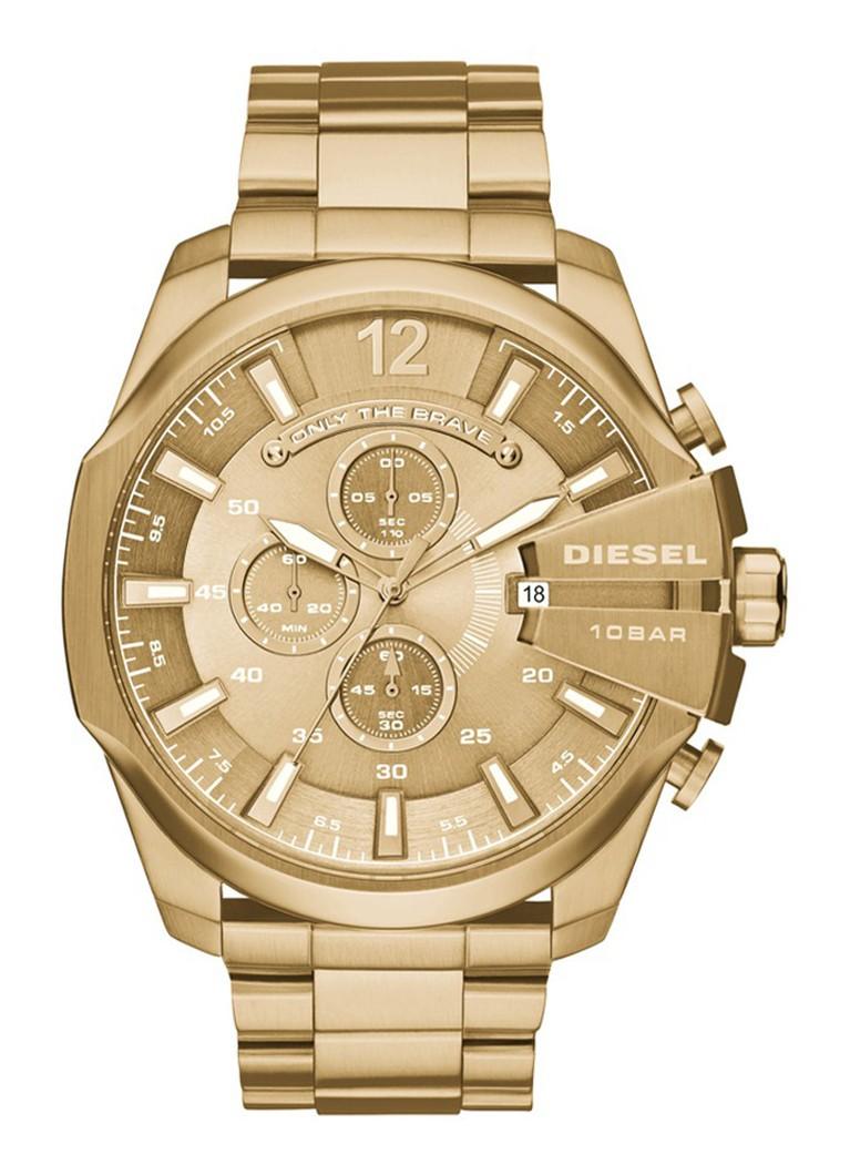 Diesel Horloge Mega Chief goud DZ4360