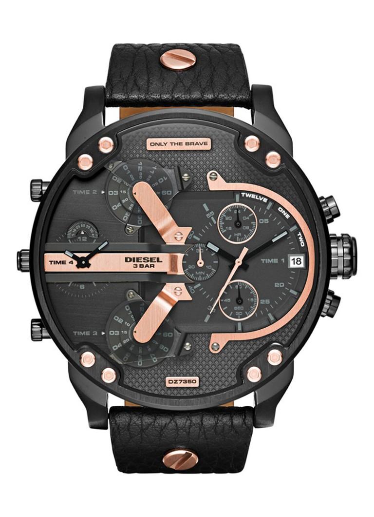Diesel Horloge Mr Daddy roségoud zwart DZ7350
