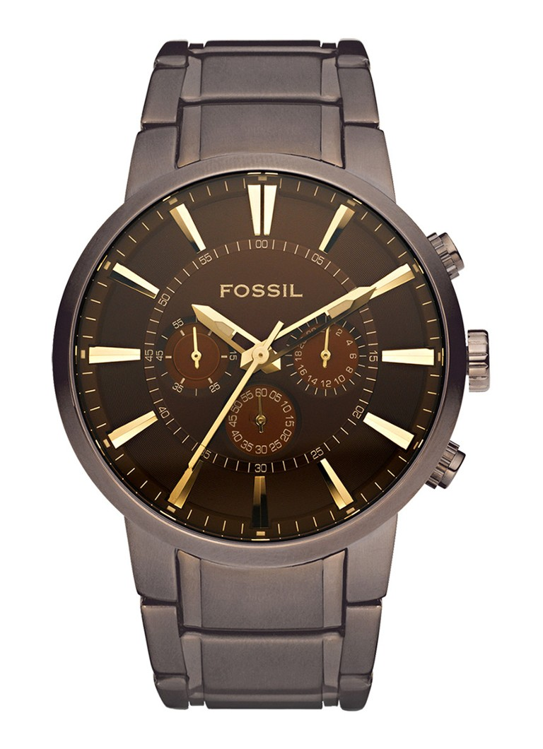 Fossil Other FS4357 - Horloge - 45 mm -  Staal - Bruin