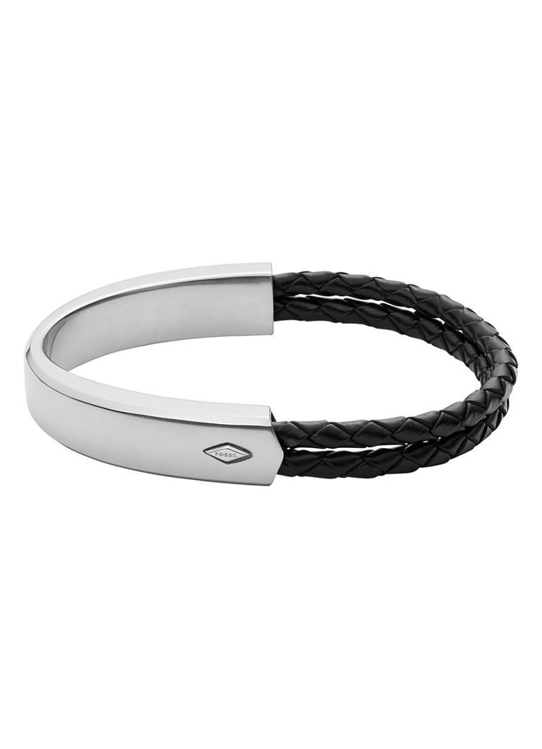 Sieraden Fossil Armband Mens Vintage Casual van roestvrijstaal en leer JF02760040 Zilver