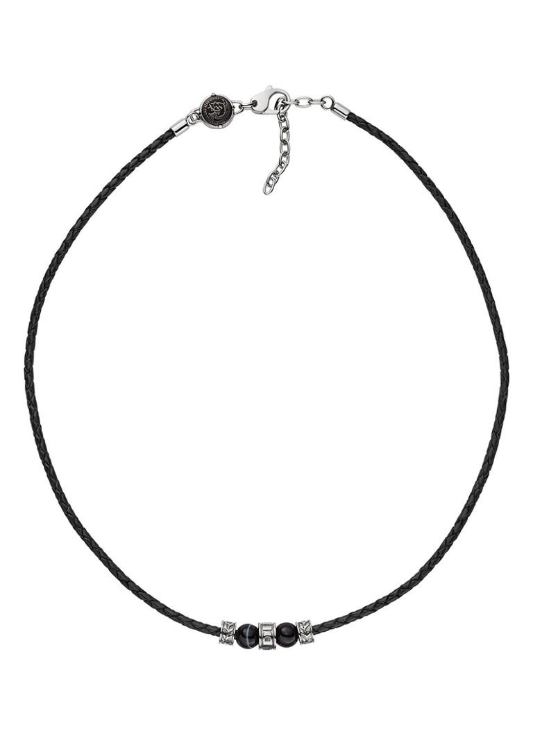Diesel Ketting single pendant van leer  and  halfedelsteen DX1107040