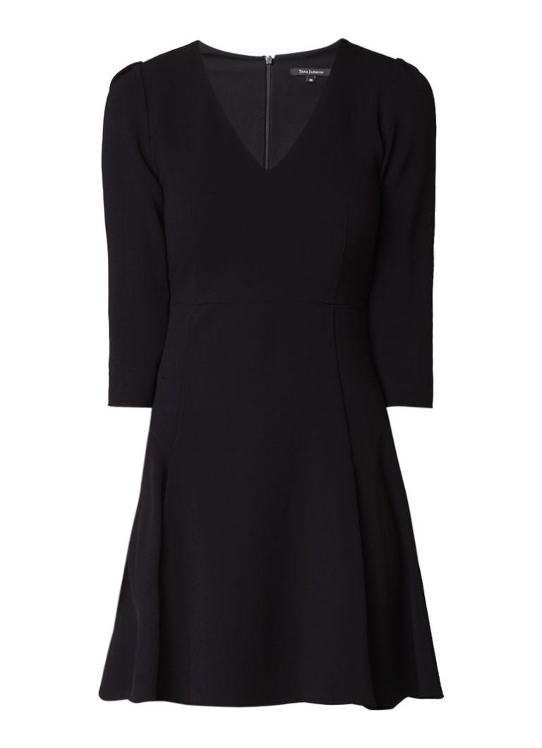 Tara Jarmon A-lijn jurk in scheerwolblend met V-hals zwart