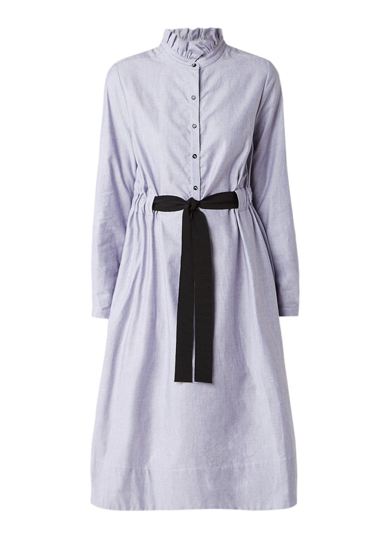 Tara Jarmon A-lijn blousejurk met strikceintuur blauwgrijs