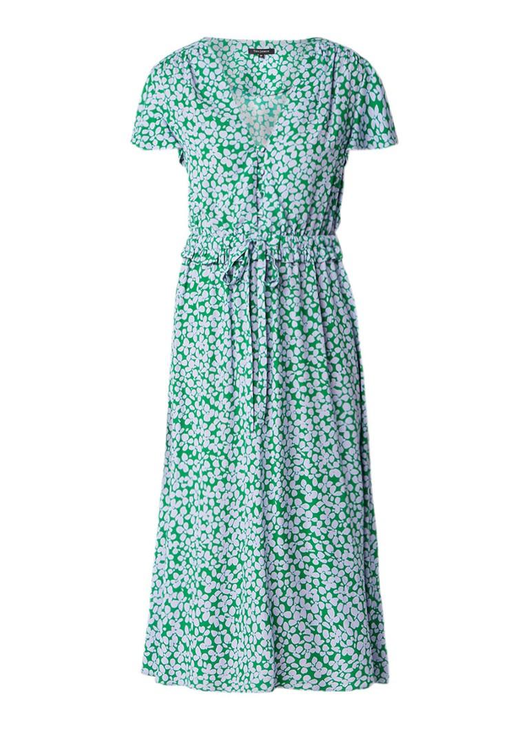 Tara Jarmon Midi-jurk van crêpe met bladdesin groen