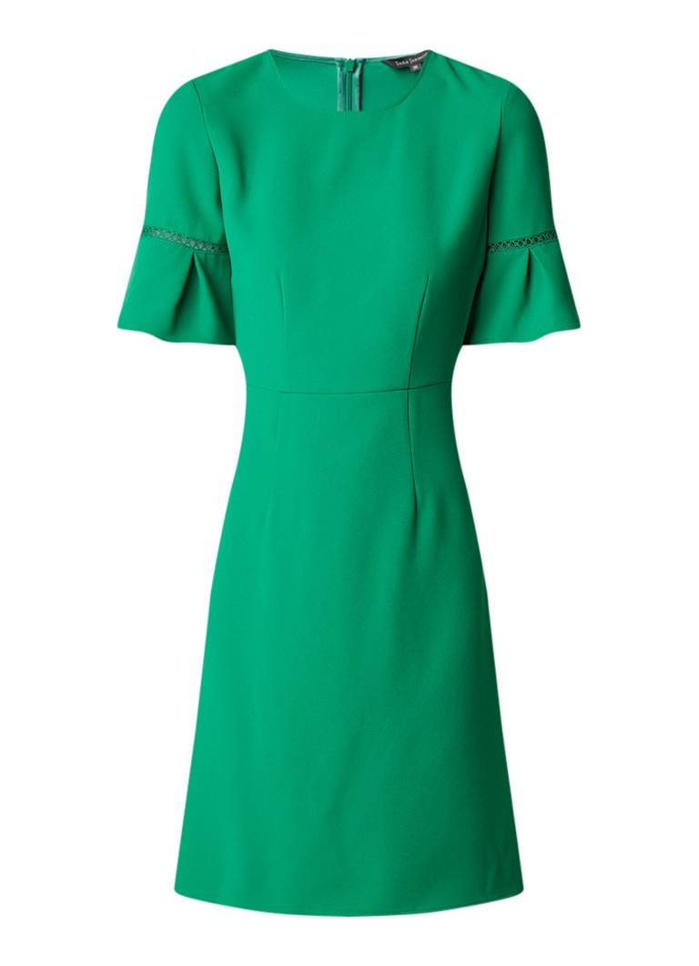Tara Jarmon A-lijn jurk met klokmouw en broderie groen