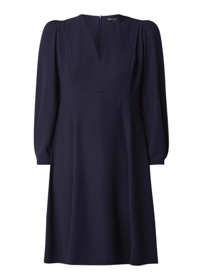 Tara Jarmon A-lijn jurk van crêpe met V-hals donkerblauw