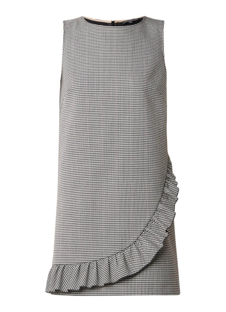 Tara Jarmon Mouwloze jurk met pied-de-poule dessin en ruches