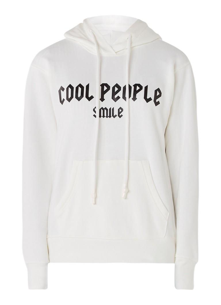 Truien en vesten MOenCo  Cool People Smile hoodie met tekstopdruk Gebroken wit