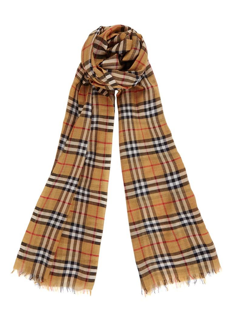 BURBERRY Vintage Check sjaal in zijde en wolblend 220 x 70 cm