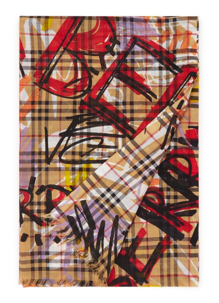 BURBERRY Graffiti Vintage Check sjaal in zijdeblend 220 x 70 cm