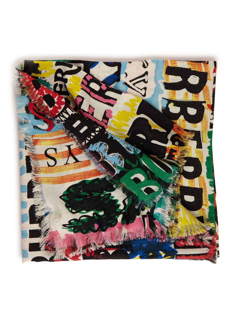 BURBERRY Newsprint Graffiti sjaal met print 140 x 140 cm