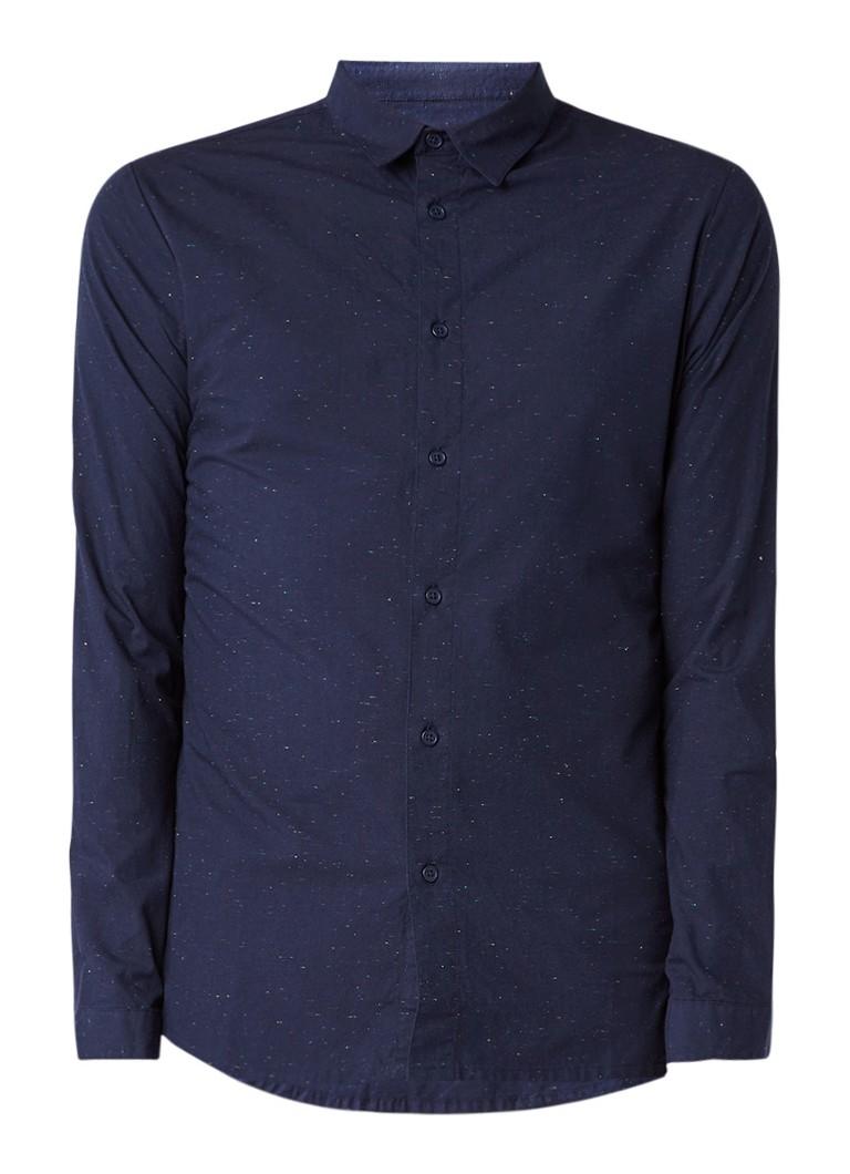 RVLT Revolution Cotton nope gemêleerd regular fit overhemd
