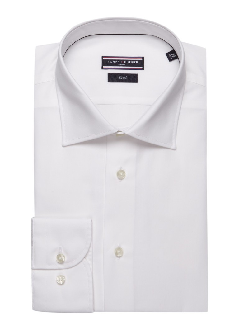 Tommy Hilfiger Tailored Fitted overhemd in wit poplin