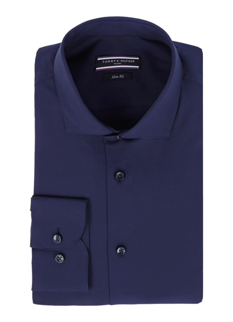 Tommy Hilfiger Tailored Slim fit overhemd in uni donkerblauw
