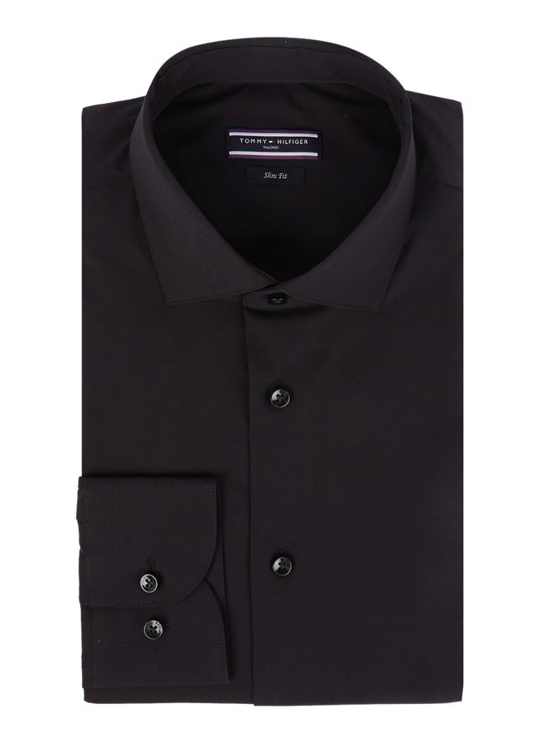 Tommy Hilfiger Tailored Dit uni zwarte overhemd