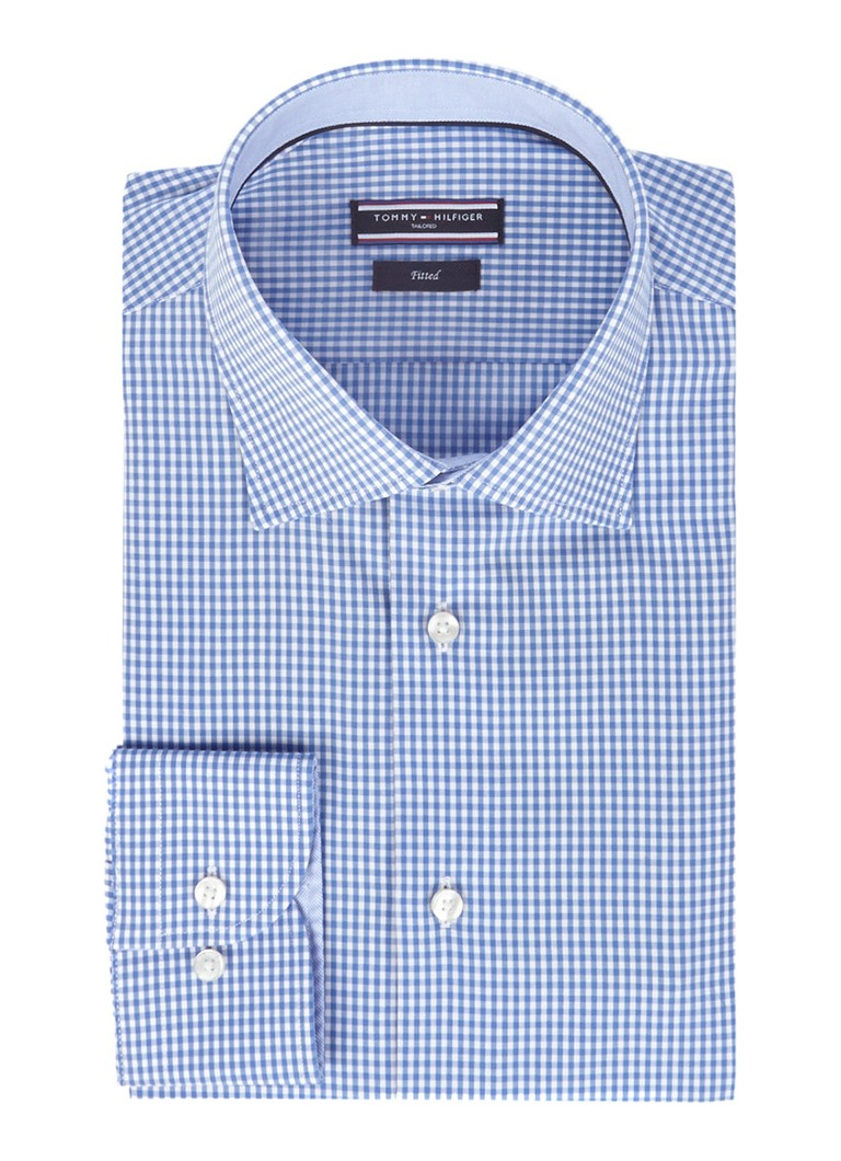 Tommy Hilfiger Tailored Fitted overhemd John met blauwe Vichy-ruitendessin