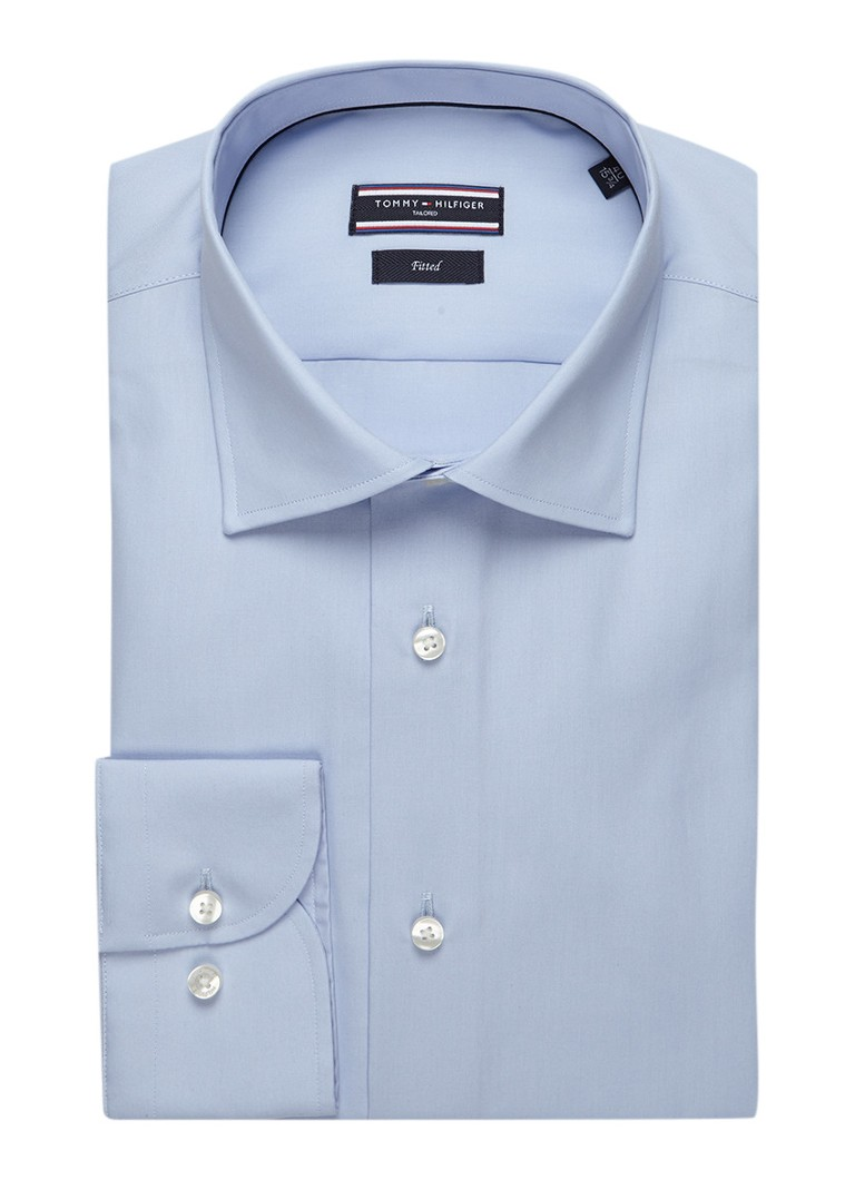 Tommy Hilfiger Tailored Lichtblauw fitted overhemd John, met extra lange mouw