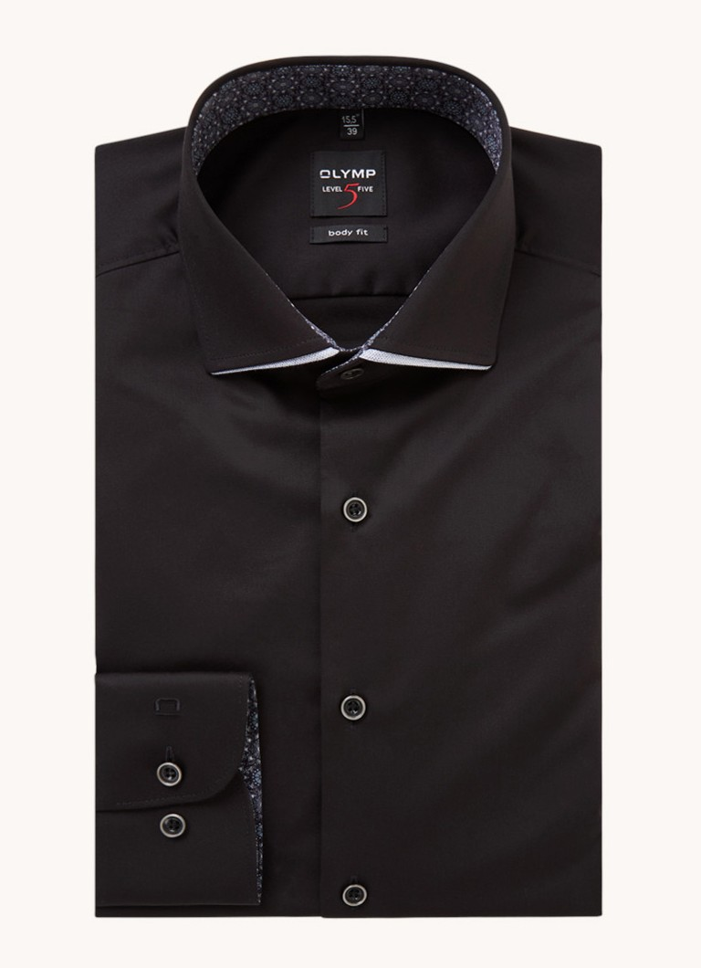 Body fit overhemd met detail van lurex