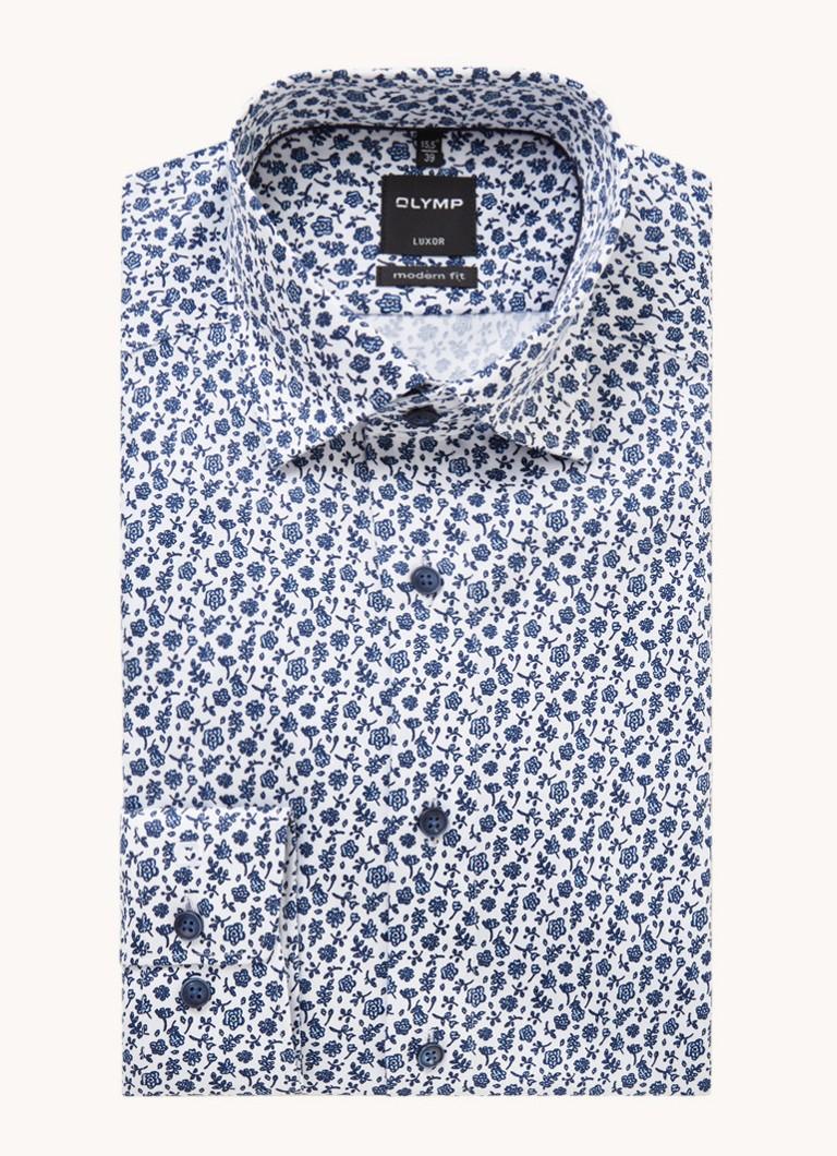 Modern fit overhemd met bloemenprint