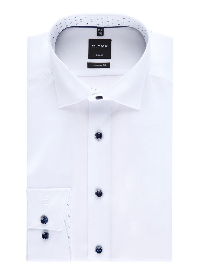 Olymp Luxor regular fit overhemd met contrasterende knopen